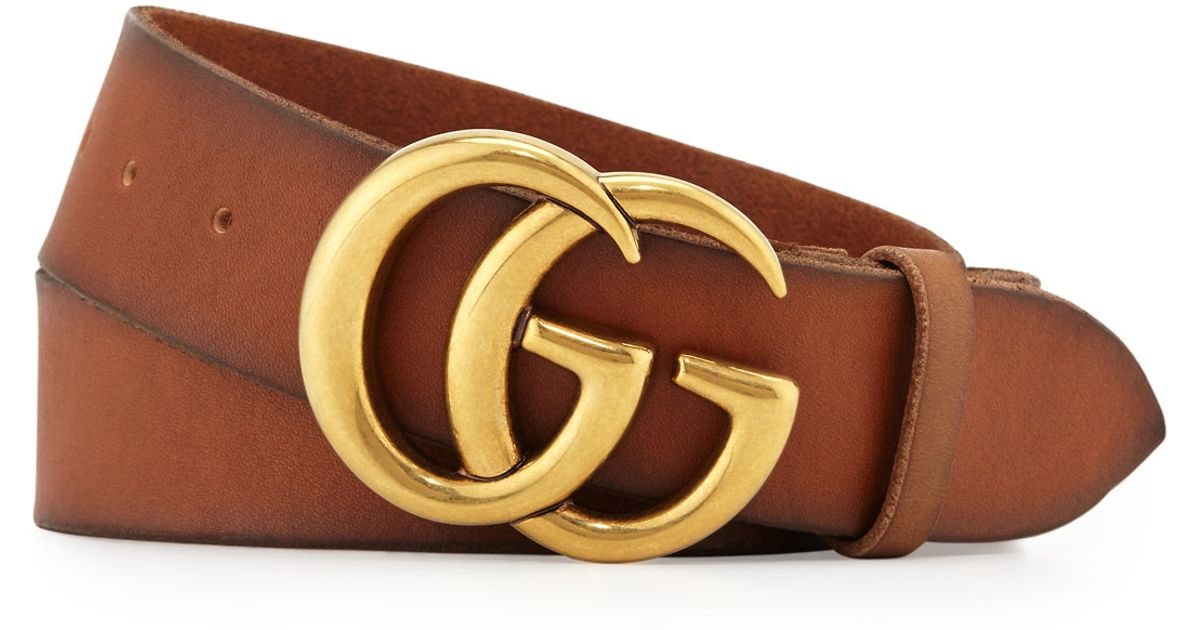 lyst gucci mens leather belt with doubleg buckle in