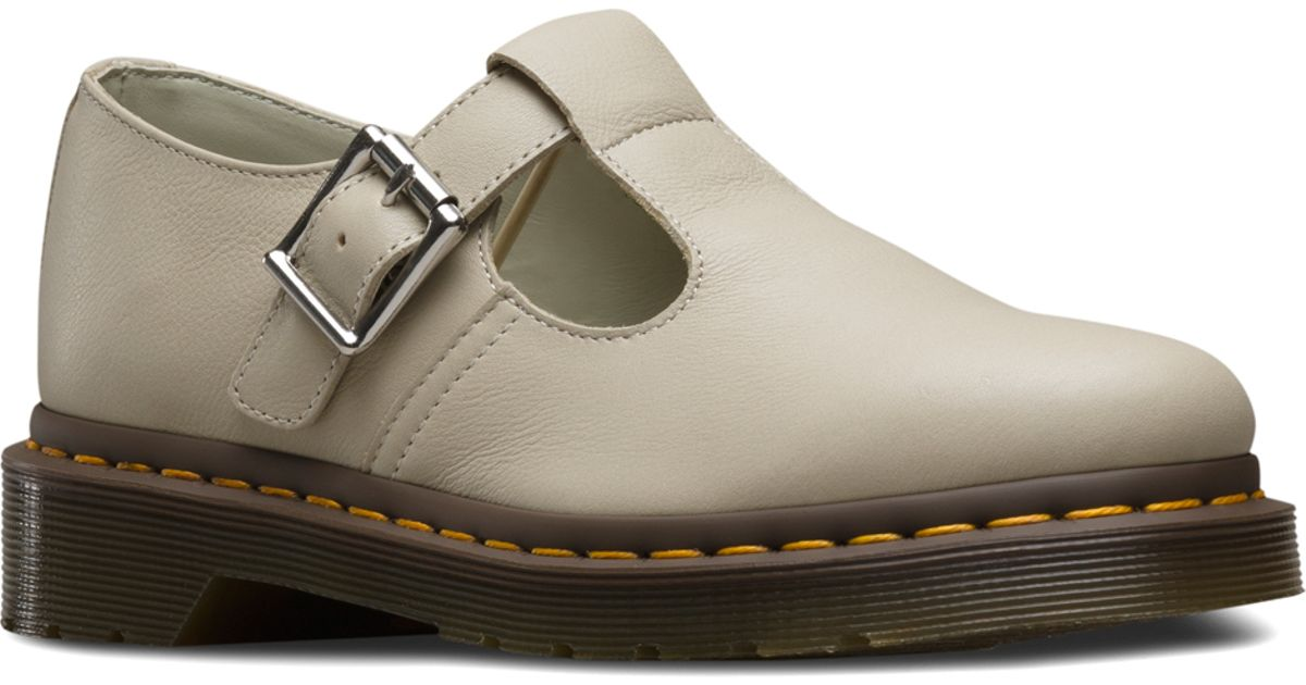dr martens polley t bar in gray lyst
