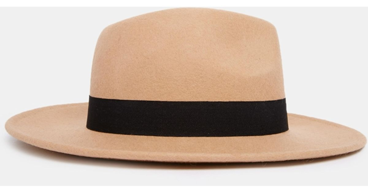 b4685f95c6d54f ASOS Felt Fedora Hat With Wide Band And Stitch Edge in Natural - Lyst