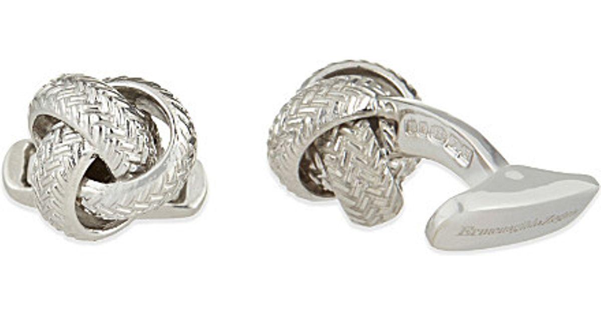 807e8f0ecf4d Ermenegildo Zegna Silver Knot Cufflinks in Metallic for Men - Lyst