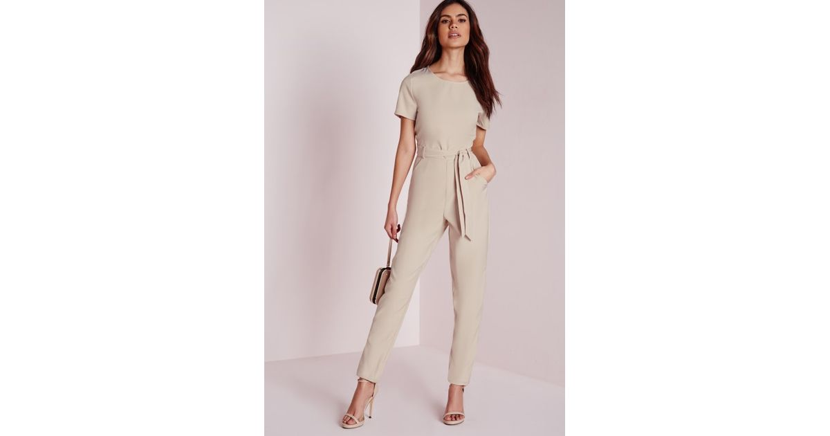 765d379d92 Lyst - Missguided Tie Front T-shirt Jumpsuit Nude in Natural