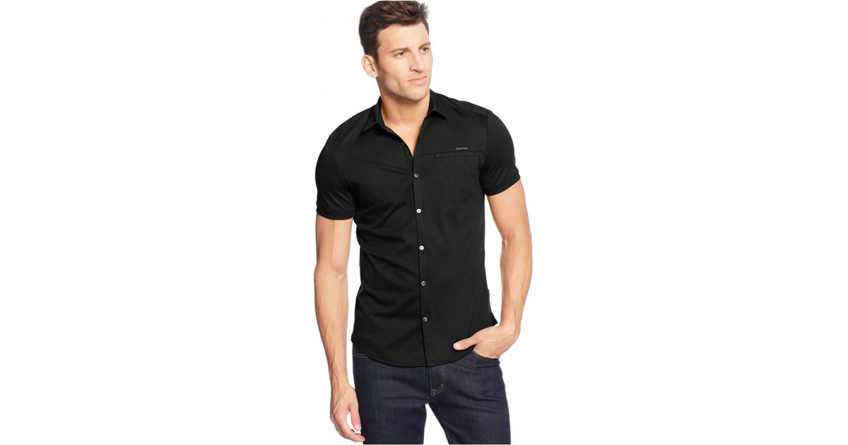 Calvin klein Short-sleeve Coat-front Shirt in Black for Men | Lyst