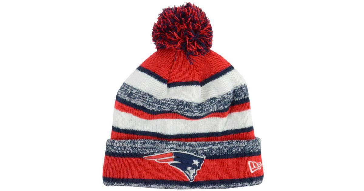 79980f41fb470b ... france lyst ktz new england patriots sport knit hat in red for men  d72aa d297a ...