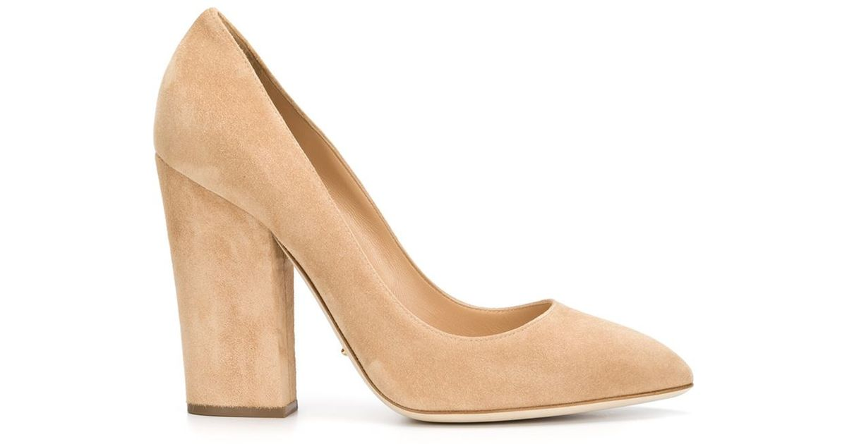 220928e2a9b Lyst - Sergio Rossi Chunky Heel Pumps in Natural