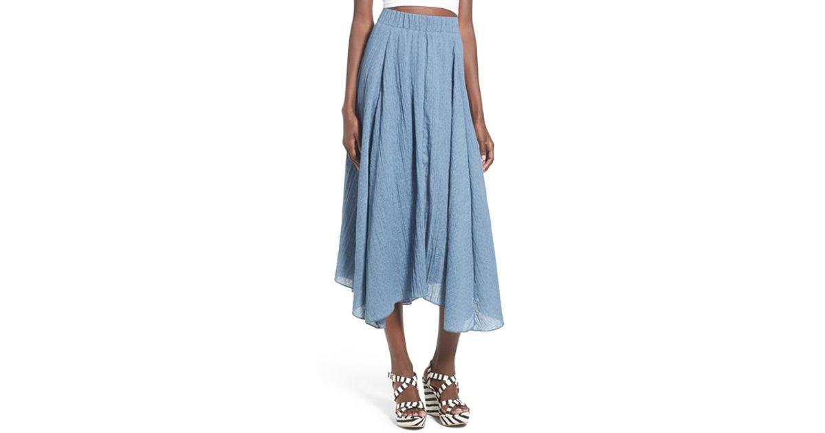 bp cotton midi skirt in blue white lyst