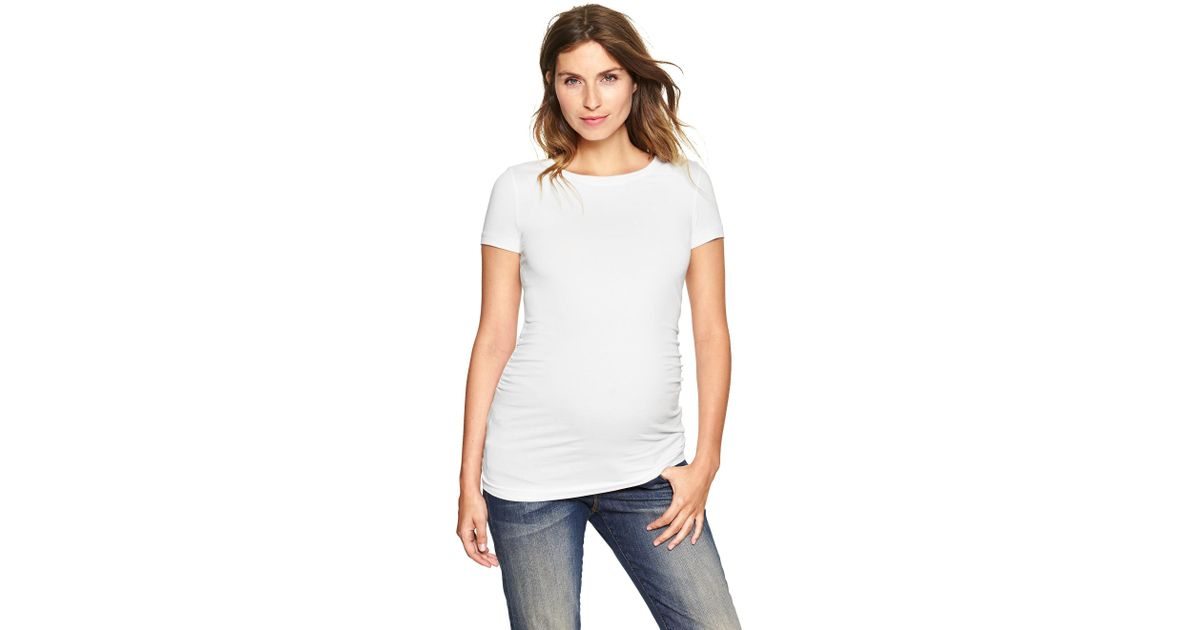 Gap pure body crewneck tee in white lyst for Gap petite t shirts
