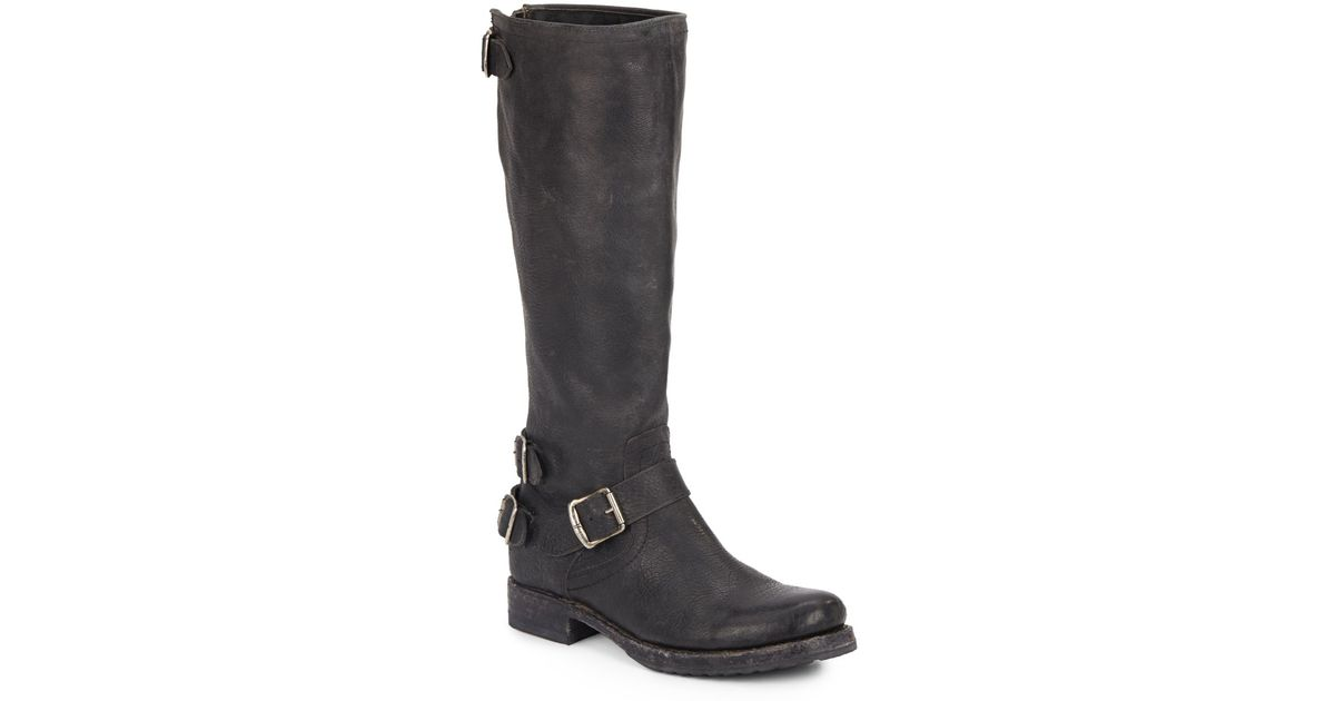 frye knee high leather buckle boots in black