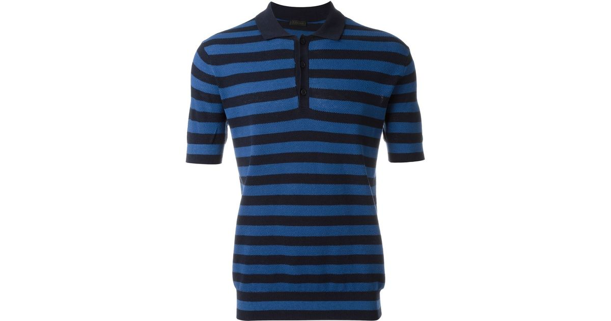 Z zegna striped polo shirt in blue for men save 50 lyst for Zegna polo shirts sale