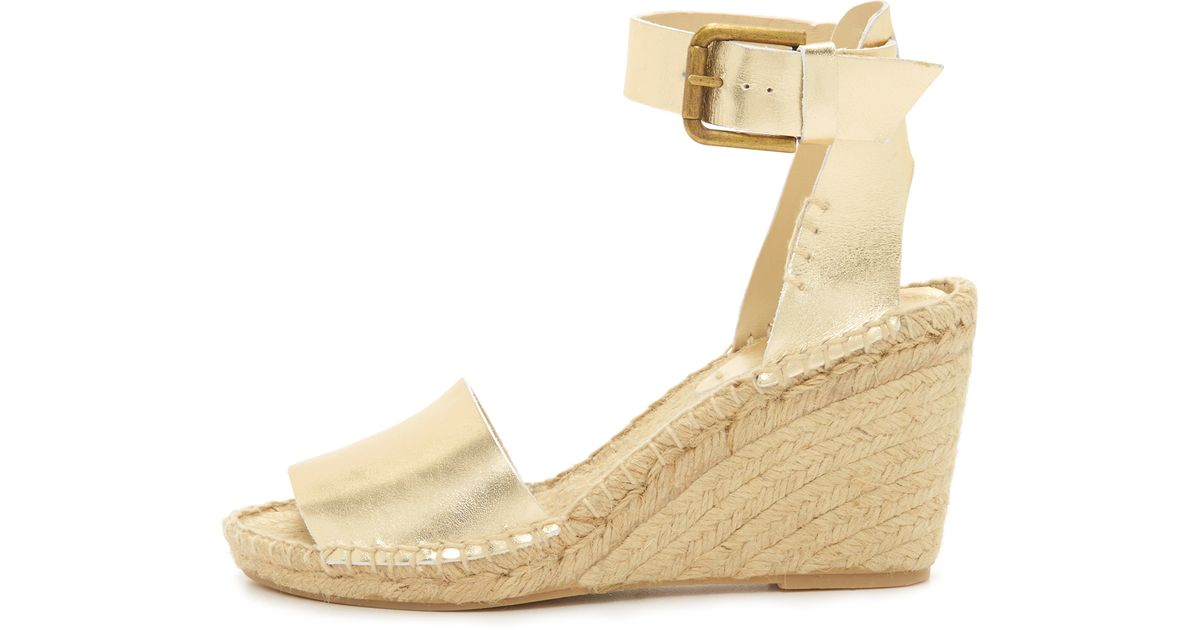 dd4bc70ebbf1 Lyst - Soludos Open Toe Wedge Leather Espadrilles in Metallic