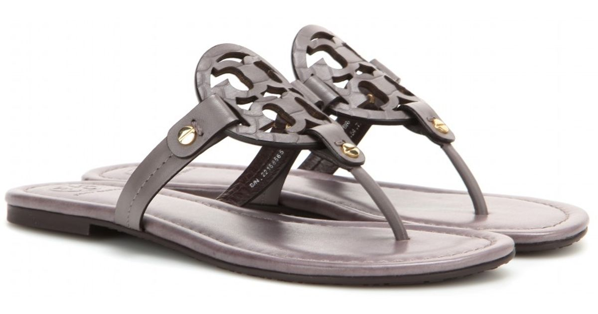 Tory Burch Miller Leather Sandals In Gray Lyst