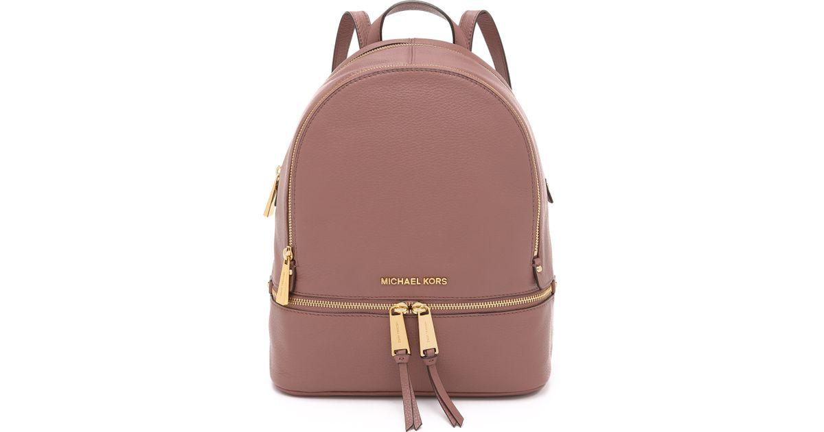 c9d784a0cd0d get lyst michael michael kors rhea backpack navy in pink c77a7 10799
