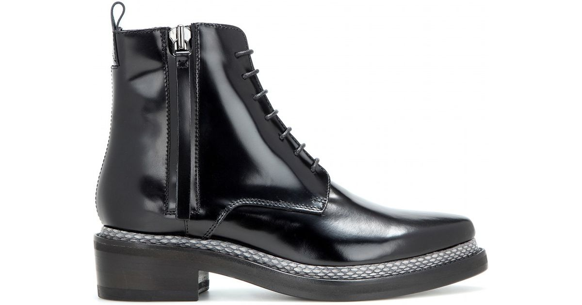31b50e045 Acne Studios Linden Leather And Snakeskin Ankle Boots in Black - Lyst