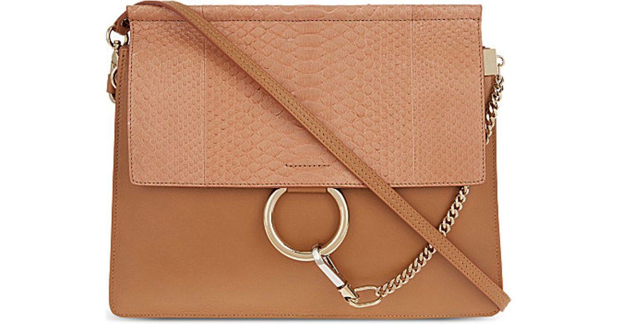 chloe faye python leather satchel