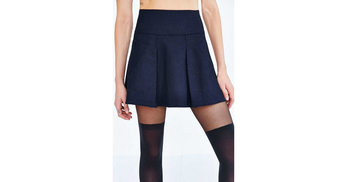 cope pleated pocket mini skirt in blue lyst
