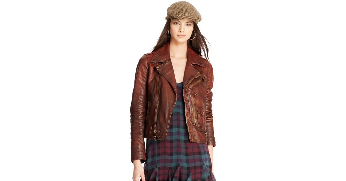 5dcd7bb251f7 Lyst - Polo Ralph Lauren Distressed Leather Moto Jacket in Brown