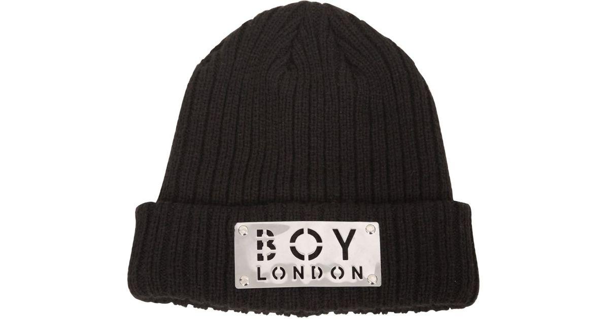 Lyst - BOY London Boy Plaque Wool Blend Knit Beanie Hat in Black for Men ee8e92d5639