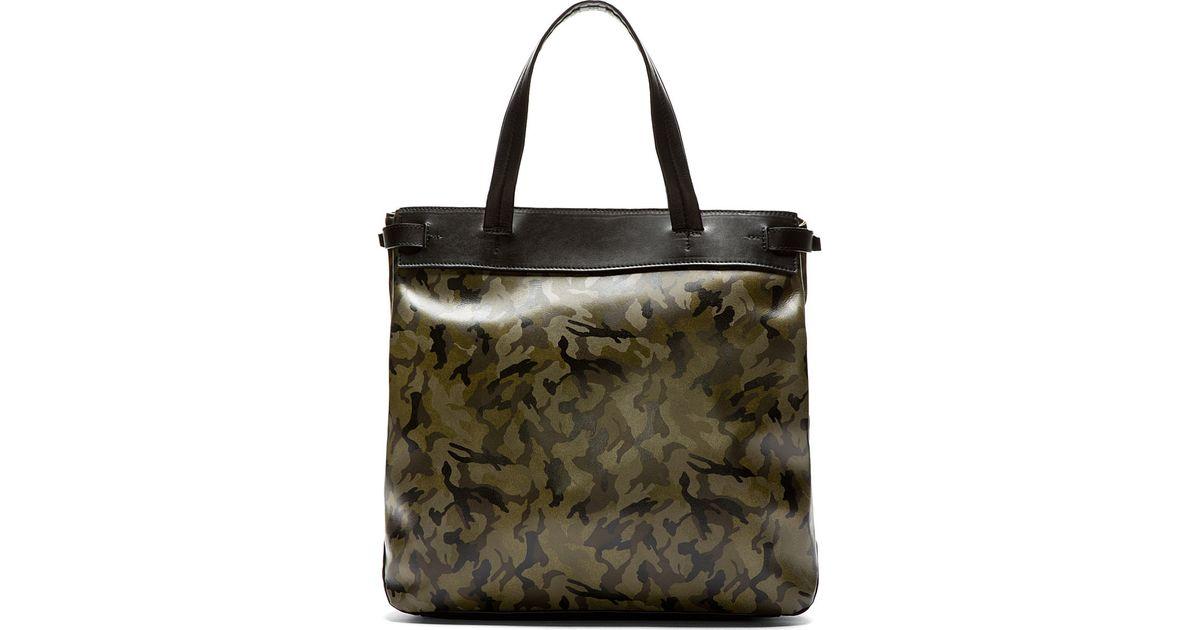 Lyst - Yohji Yamamoto Camo and Black Leather Tote Bag in Green for Men 1e0c6ebbb2406