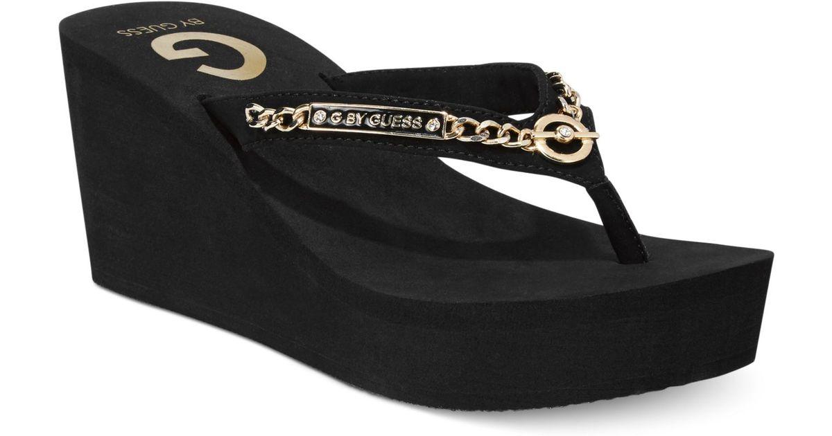 7080b163a Lyst - G by Guess Women S Suzee Platform Wedge Flip Flops in Black