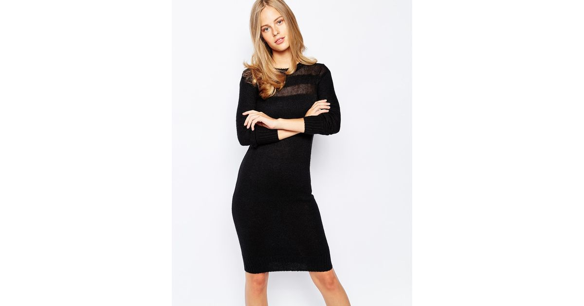 Lyst Lost Ink Fine Knit Jumper Dress With Sheer Top In Black