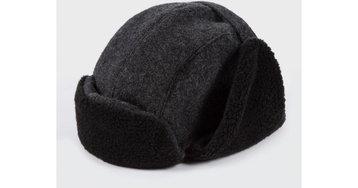 4a4862780b6 Lyst - Paul Smith Grey Wool Trapper Hat in Gray for Men
