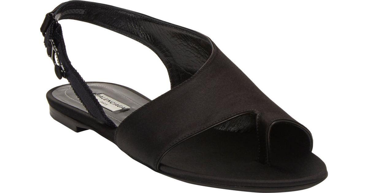 ef821e615548a Balenciaga Boudoir Slingback Flat Sandals in Black - Lyst