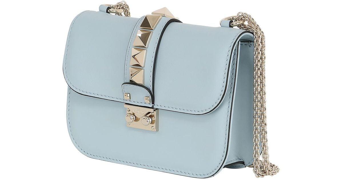cfcdfbc5e4 Lyst - Valentino Small Lock Nappa Leather Shoulder Bag in Blue