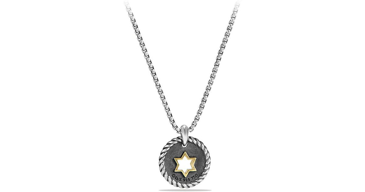 David yurman star of david charm necklace with diamonds for Star of david necklace mens jewelry