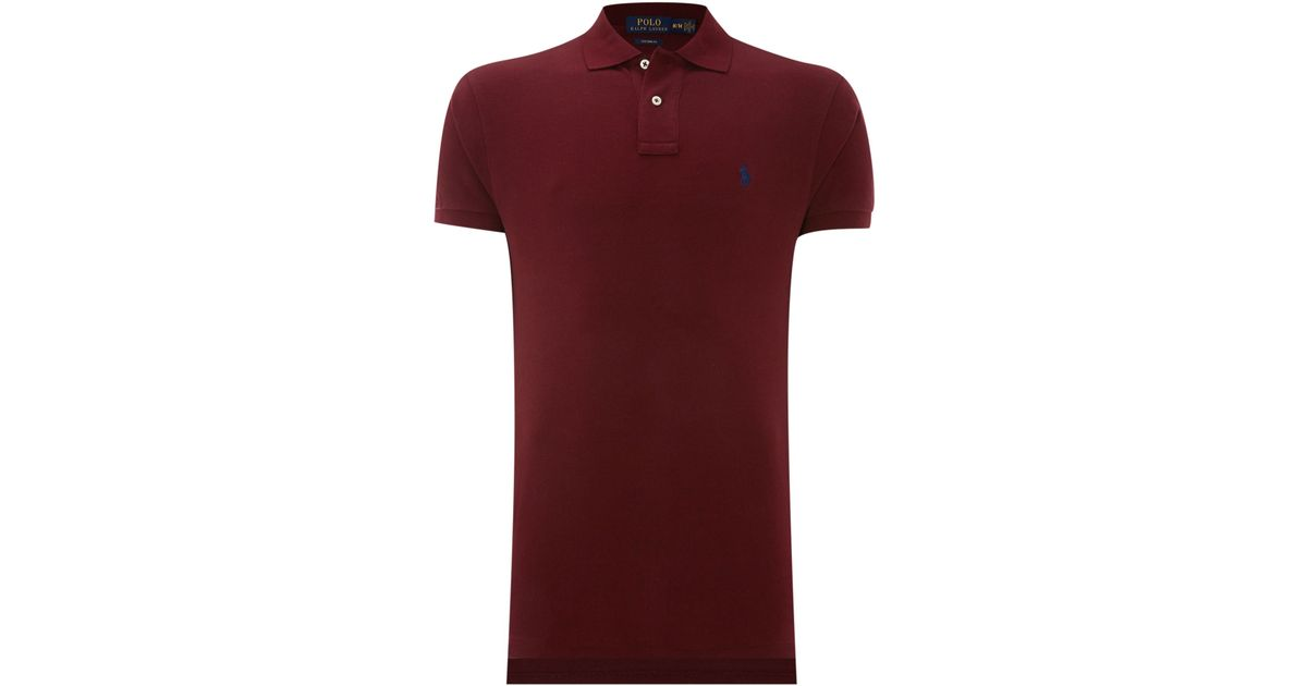 Polo ralph lauren Custom Fit Short Sleeve Mesh Polo Shirt in Purple for Men | Lyst