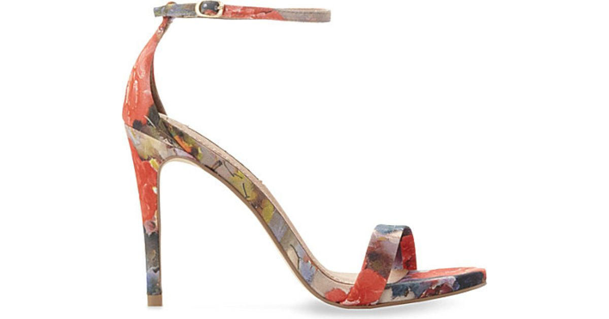 31c02506706 Lyst - Steve Madden Stecy Floral-print Heeled Sandals in Pink