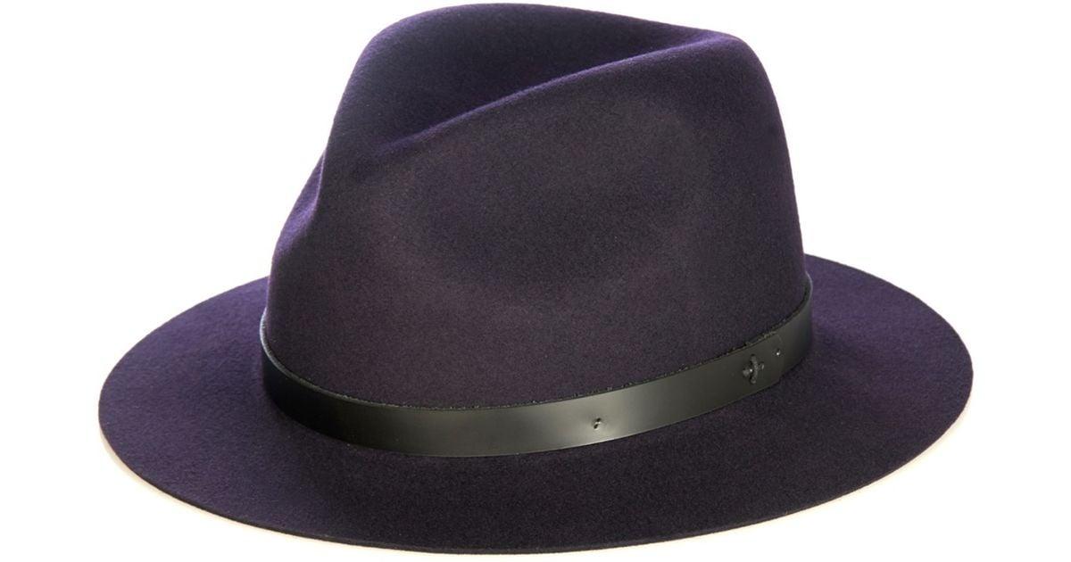 7bd45024c5727a Rag & Bone Abbott Wool-felt Fedora Hat in Blue - Lyst