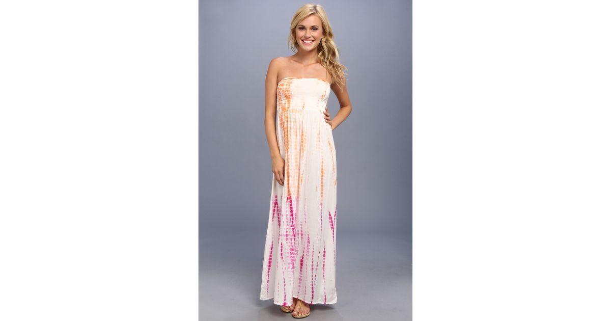 Roxy pink blue maxi dress