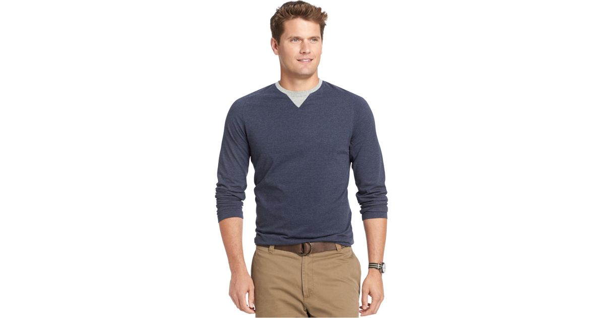 Izod big and tall raglan crew neck long sleeve t shirt in for Big and tall long sleeve shirts
