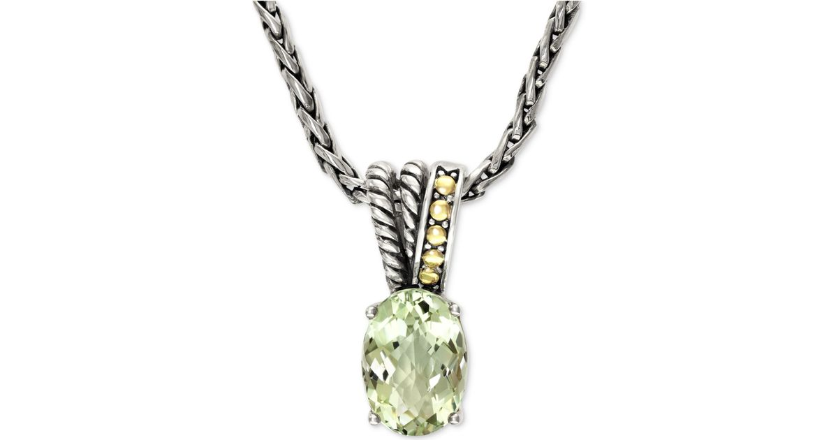 Lyst effy collection effy green amethyst pendant necklace in 18k lyst effy collection effy green amethyst pendant necklace in 18k gold and sterling silver 5 34 ct tw in metallic aloadofball Image collections