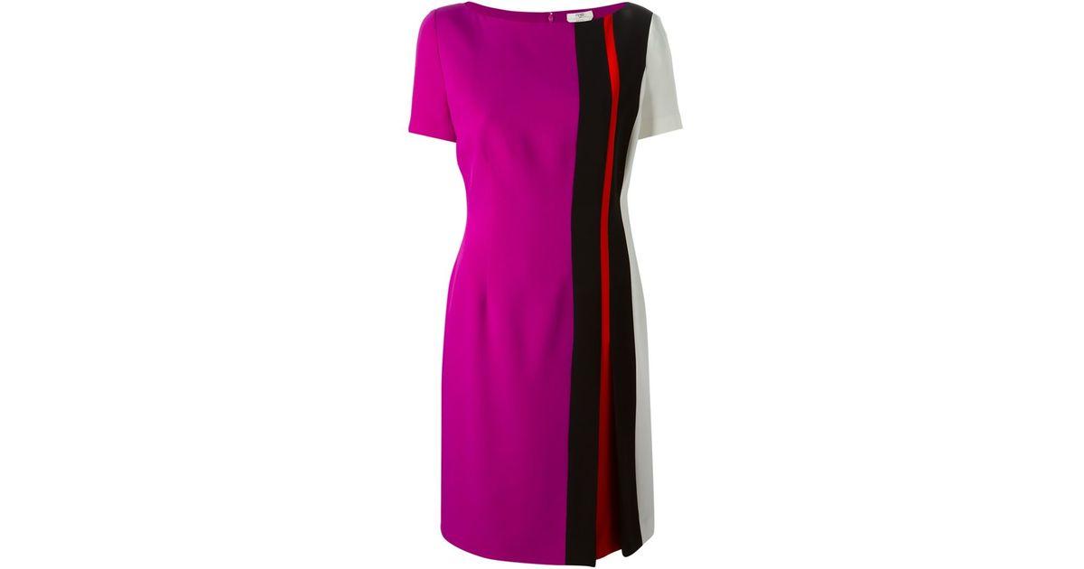 Lyst Fendi Side Striped Dress In Purple