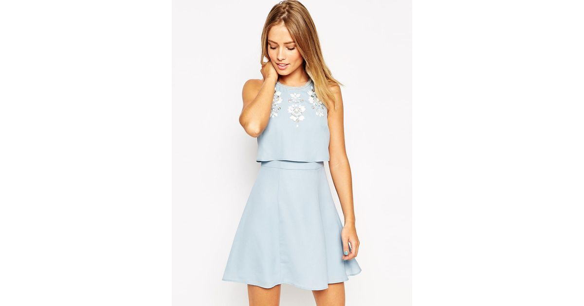 ff4d43377e Embellished Crop Top Midi Skater Dress With Short Sleeves  Lyst asos ...