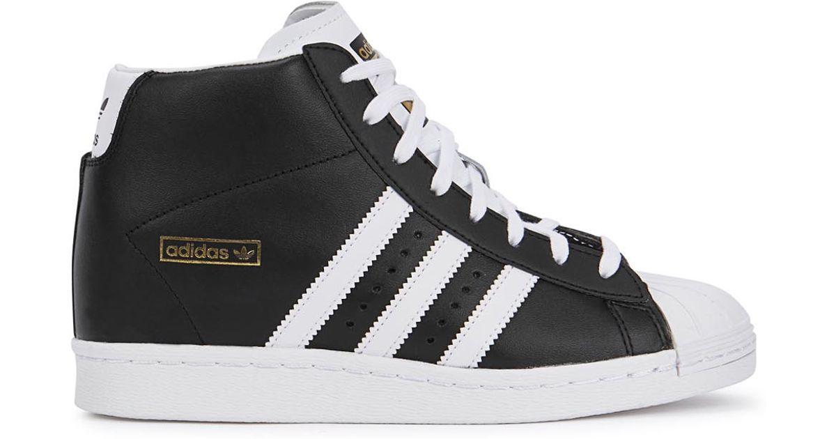 adidas Originals Superstar Monochrome Wedge Hi-top Trainers in Black - Lyst d58ed8529