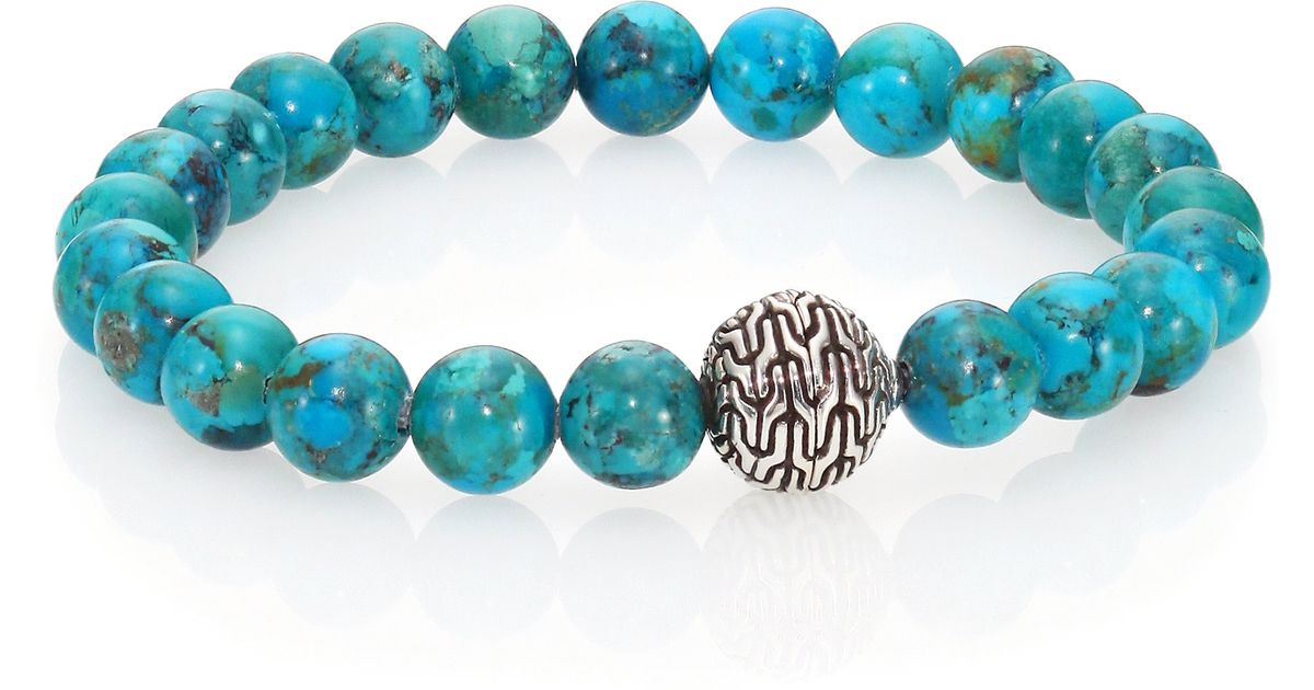 Lyst John Hardy Clic Chain Turquoise Sterling Silver Beaded Stretch Bracelet In Blue