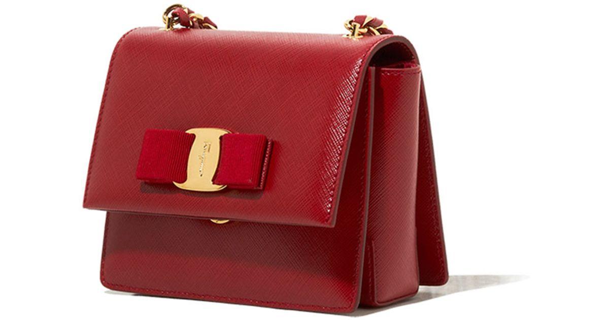 83e299a5b21 Lyst - Ferragamo Ginny Mini Saffiano Crossbody Bag in Red