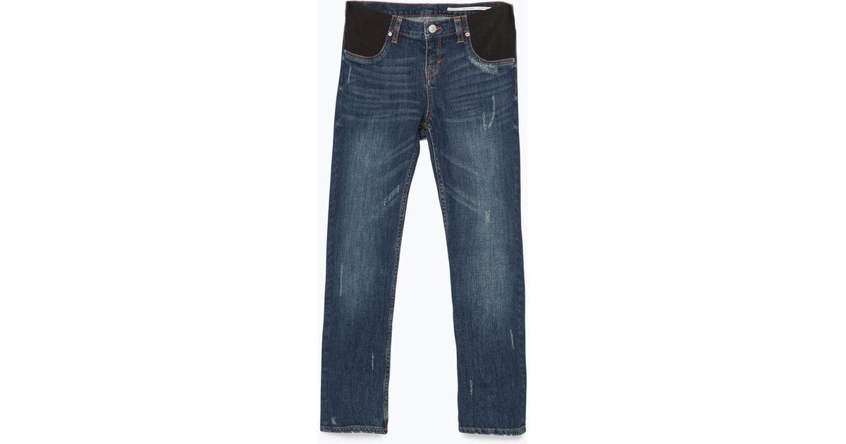 Zara Cigarette Maternity Jeans in Blue | Lyst