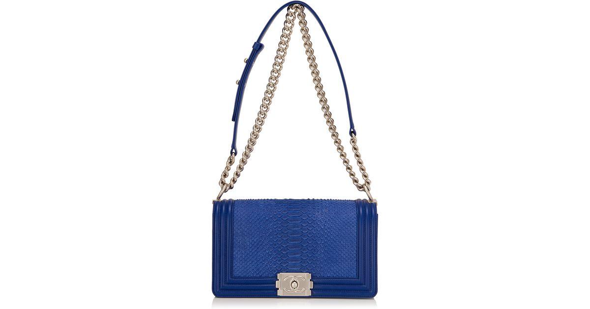 bea0b6740a Madison Avenue Couture Chanel Blue Python Medium Boy Bag in Blue - Lyst