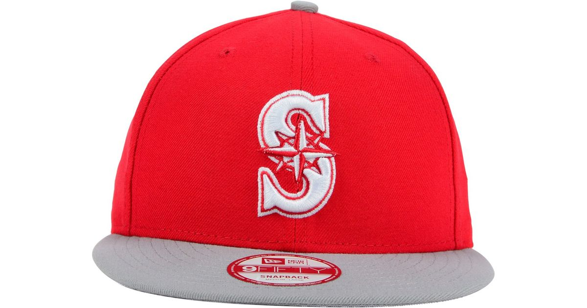 76bc380d11c Lyst - Ktz Seattle Mariners 2-tone Basic 9fifty Snapback Cap in Red for Men
