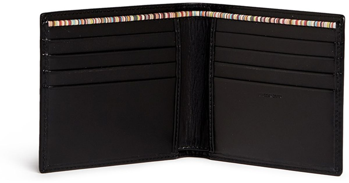 Paul Smith Stripe Print Interior Leather Bifold Wallet In Multicolor For Men Lyst