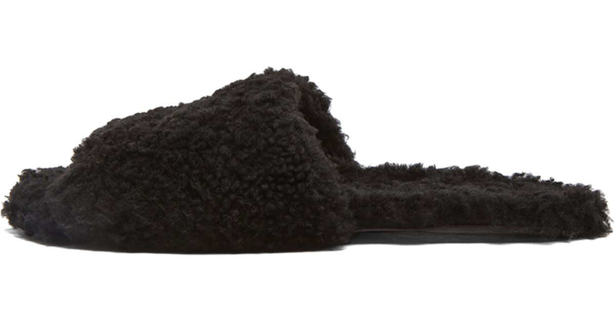 eca0396d37be3 Lyst - Rick Owens Hotel Shearling Slippers in Black