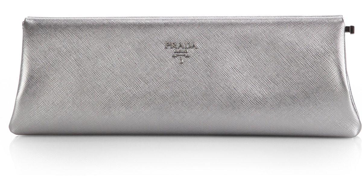 Prada Saffiano Metallic Lux Frame Clutch in Silver (CROMO-CHROME ...