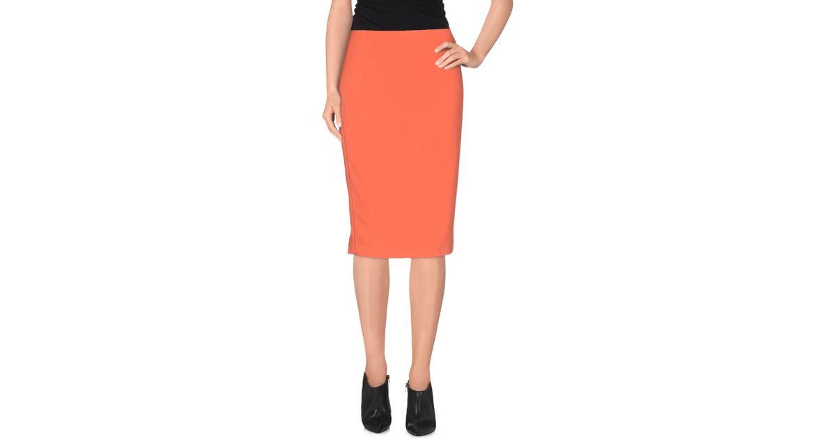 elie tahari knee length skirt in orange lyst