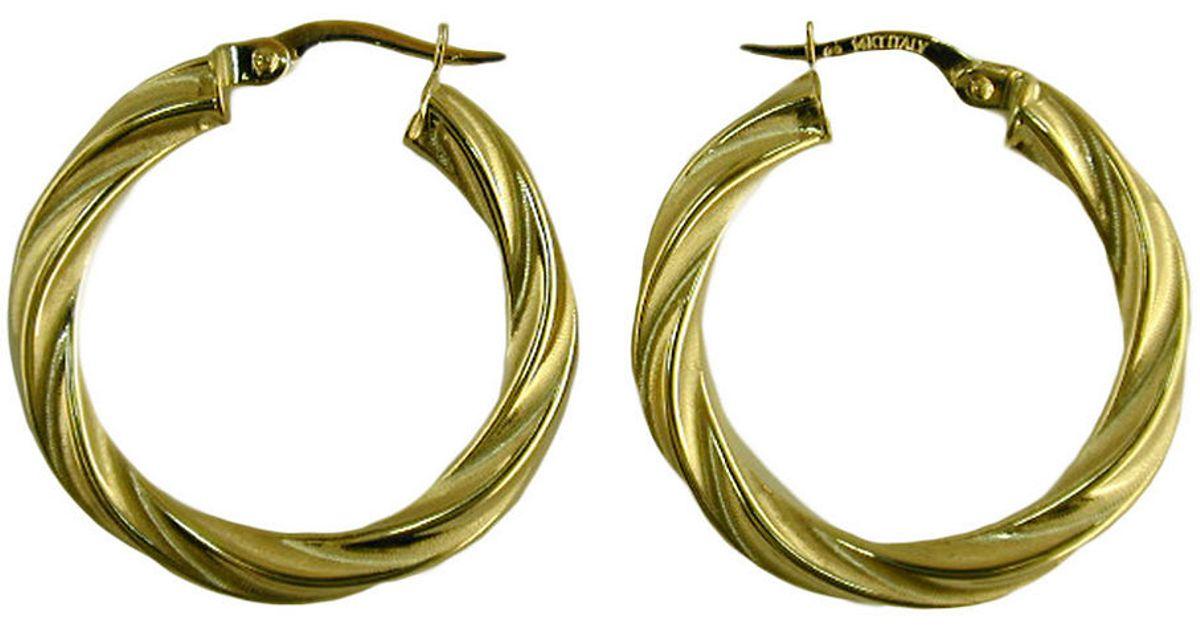 lord 14 kt yellow gold twist hoop earrings in