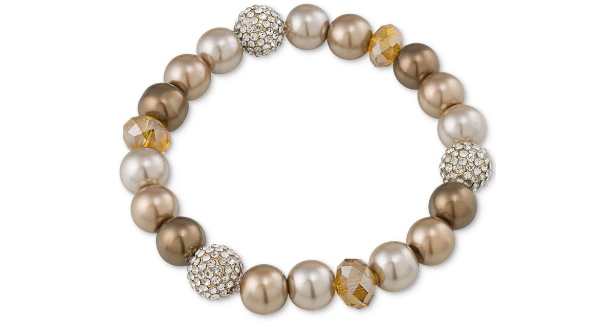 0d2d1008cc Lyst - Carolee Top Of The Rock Gold-tone Beaded Stretch Bracelet in Metallic