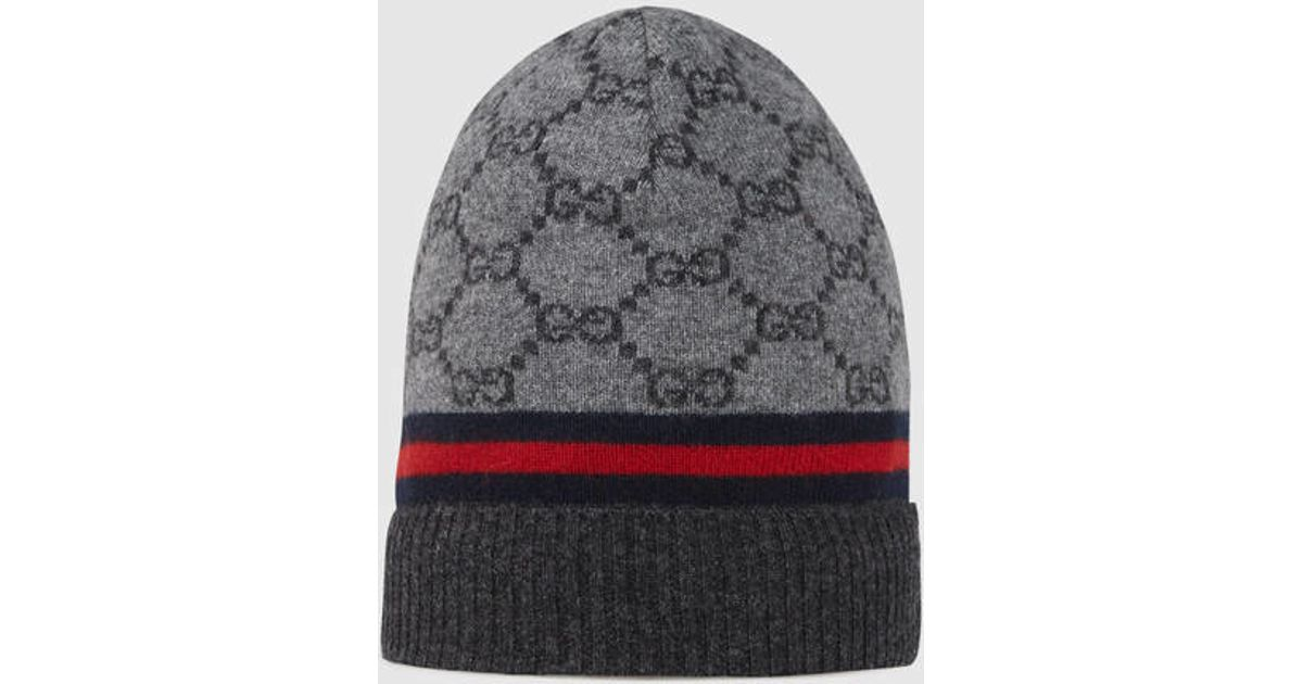 b97ccdb5907 Lyst - Gucci Gg Pattern Hat With Web Detail in Gray for Men