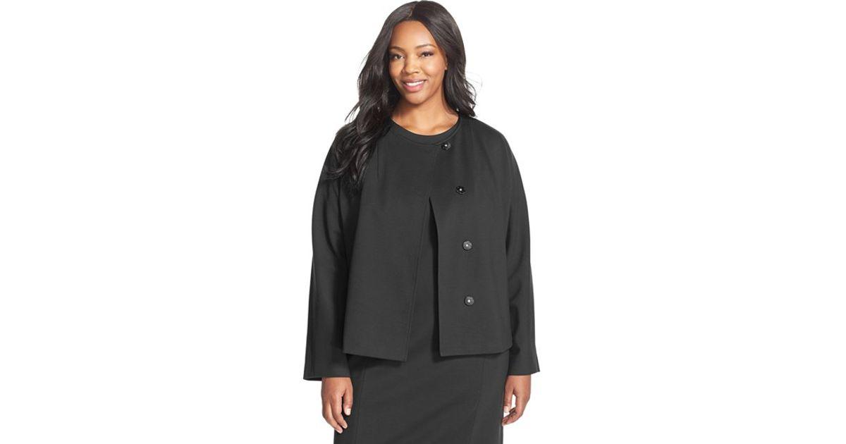 Ellen tracy Stretch Knit Peplum Jacket in Black Lyst