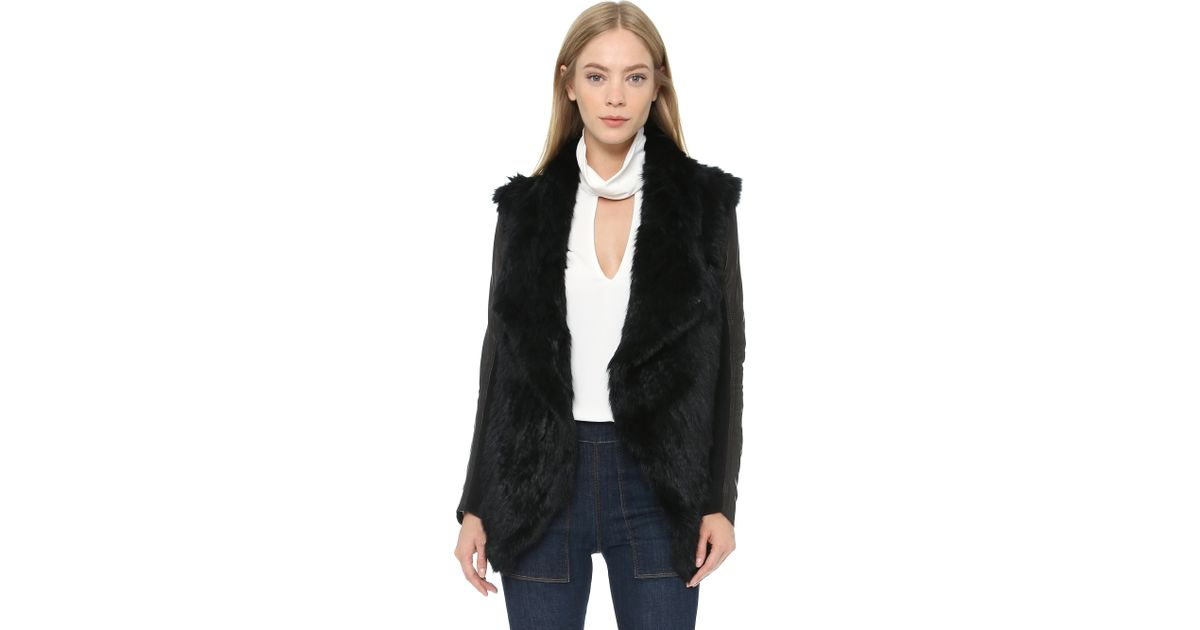 June Fur Jacket With Leather Sleeves - Black in Black | Lyst